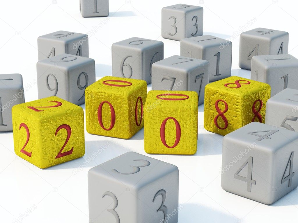 2008 New year gold bricks on white background  Stock Photo #2071680