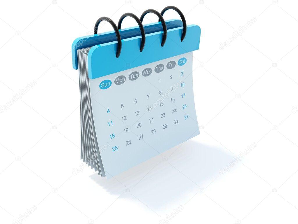 free calendar icon vector. Blue calendar icon