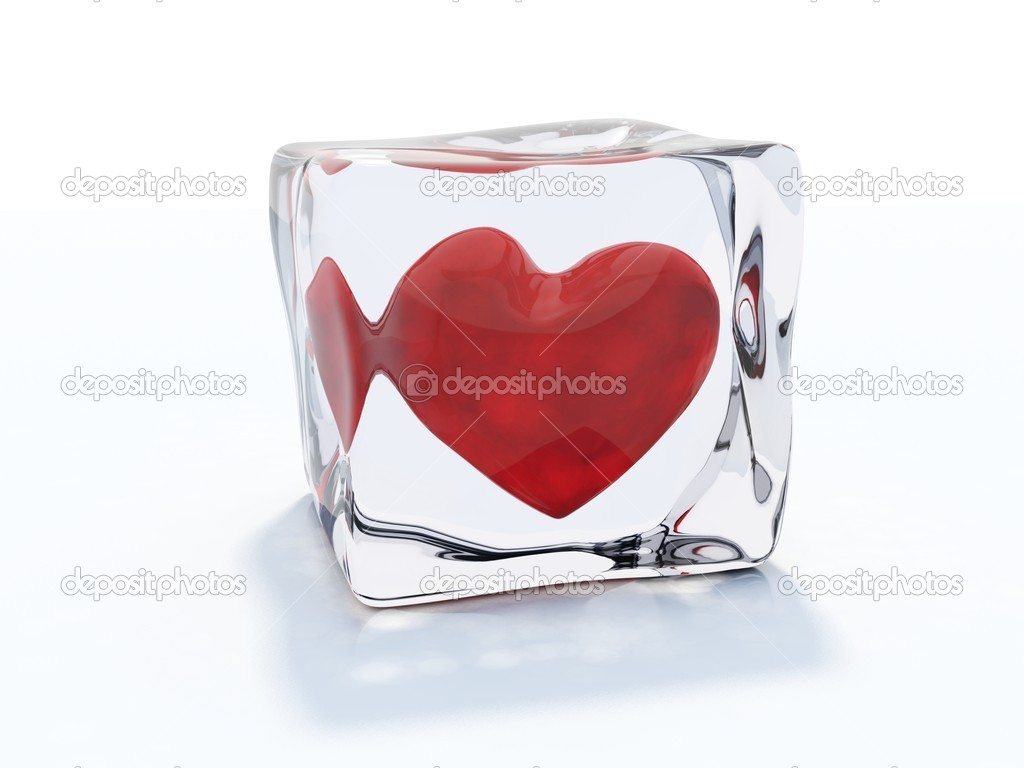 Red heart frozen in ice cube isolated on white — Stock Photo #2093433