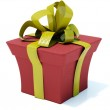 Red present with gold bow — Stock Photo