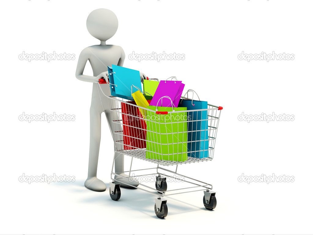 Buyer with full shopping cart isolated on white  Stock Photo #2113178
