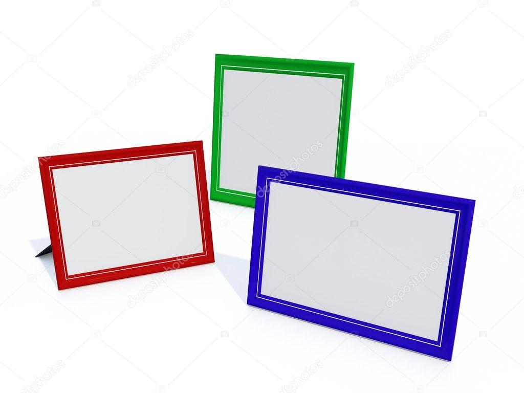 Empty color photo frames isolated on white — Stock Photo #2113531