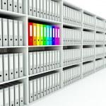Row of shelfs with folders — Stock Photo