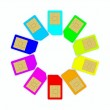 Colored sim card — Stock Photo