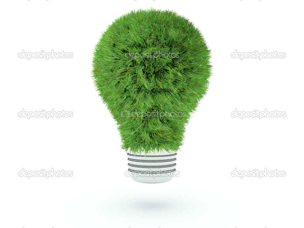 Grass lightbulb isolated on white — Stock Photo #2442933