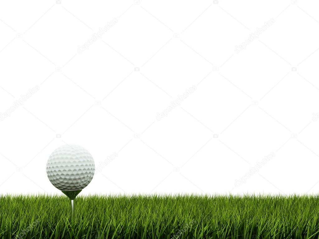 Golf ball ower green grass  Stock Photo #2516276