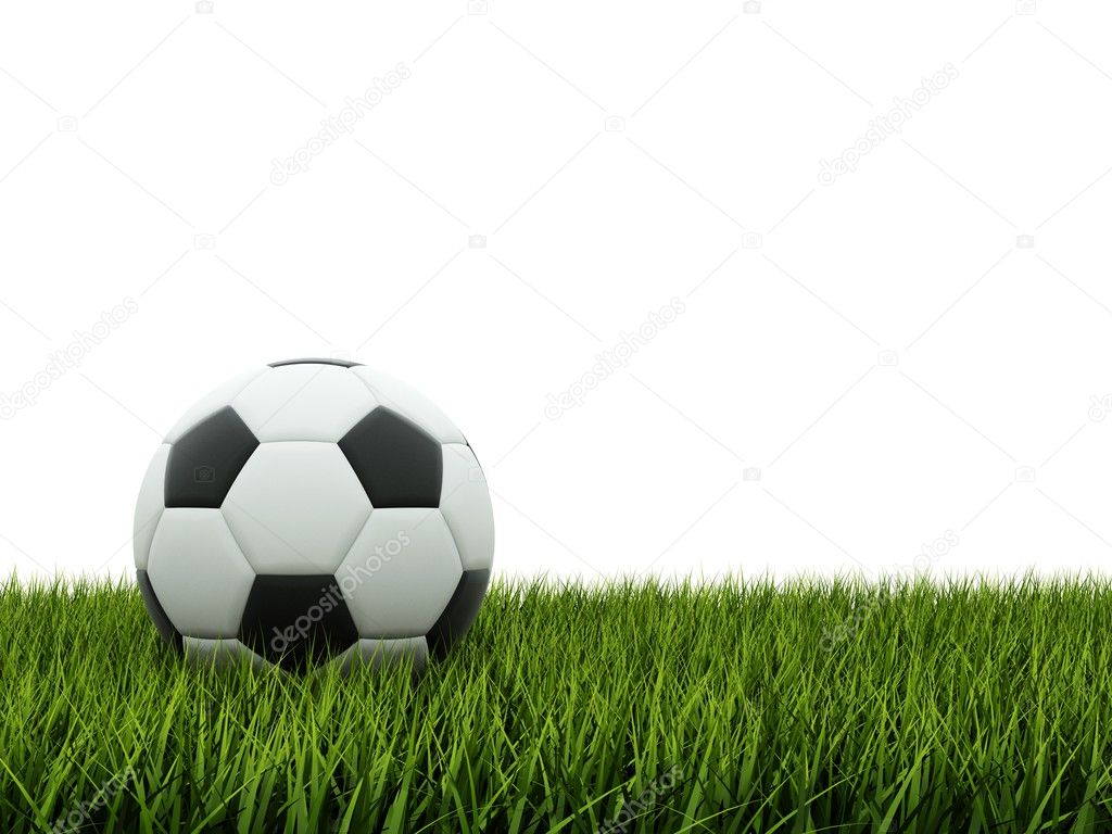 Black and white football on grass — Stock Photo #2517014