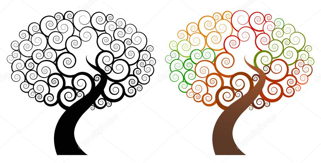 Abstract swirl black and color trees — Stock Vector #2071822