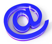 Blue email sign on white background — Stock Photo