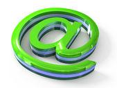 Beyaz zemin üzerine işaret yeşil email — Stok fotoğraf