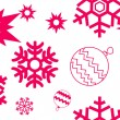 Stock Vector: Red snowflakes seamless pattern
