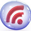 3d rss icon in shiny bubble — Stock Photo #2580588