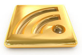 3d rss gold ingot icon — Stock Photo