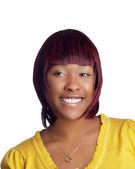 Jeune femme noire en haut jaune — Photo