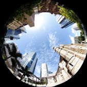 City Through Fish Eye — Stock Photo