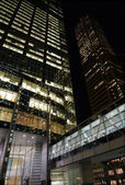 Glass and steel in architecture by night — Stock Photo