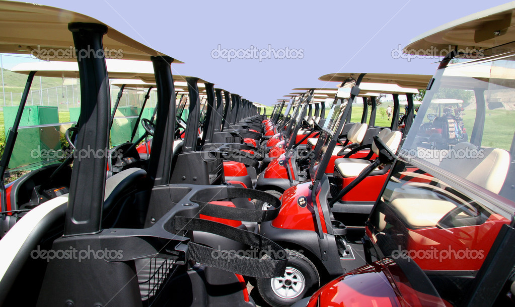 Golf carts in line  Stock Photo #2097179