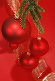 Christmas red glass balls — Stock Photo