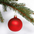 Stock Photo: Christmas red glass ball