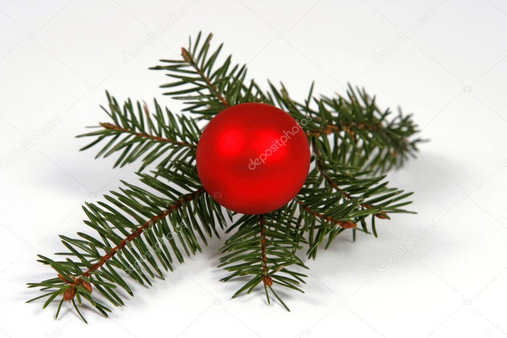 Christmas decoration with the twigs of the spruce and bauble  Stock Photo #2548519