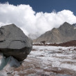 Stone on the glacier moraine in Caucasus — Stock Photo