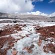 Glacier stream across stones in Caucasus — Stock Photo