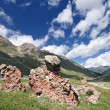 Rocks in mountain grass valley, Caucasus — Stock Photo