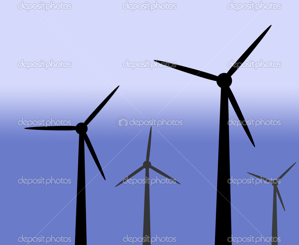 Illustration of wind generators on graduated blue background  Stock Photo #2067485