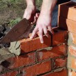 Bricklayer building wall — Stock Photo