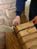 Trainee bricklayer — Stock Photo