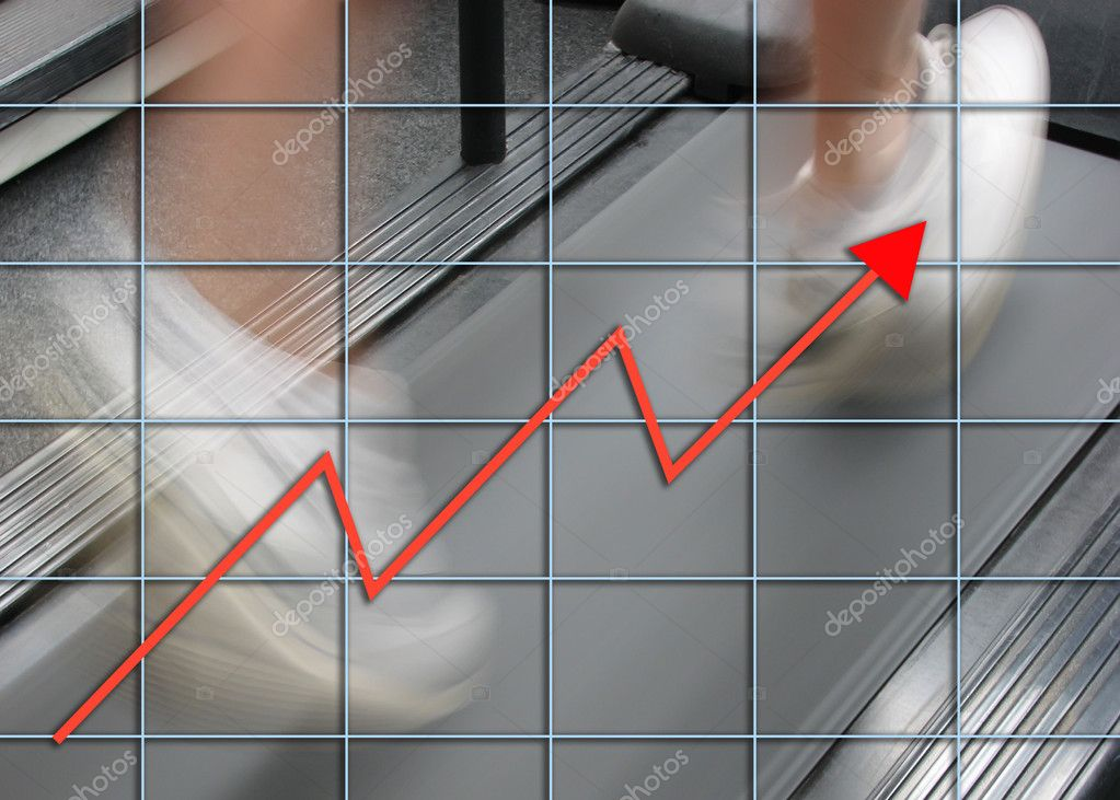 Man running on treadmill overlaid with graph — Stock Photo #2466460