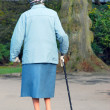Elderly lady in park — Stock Photo