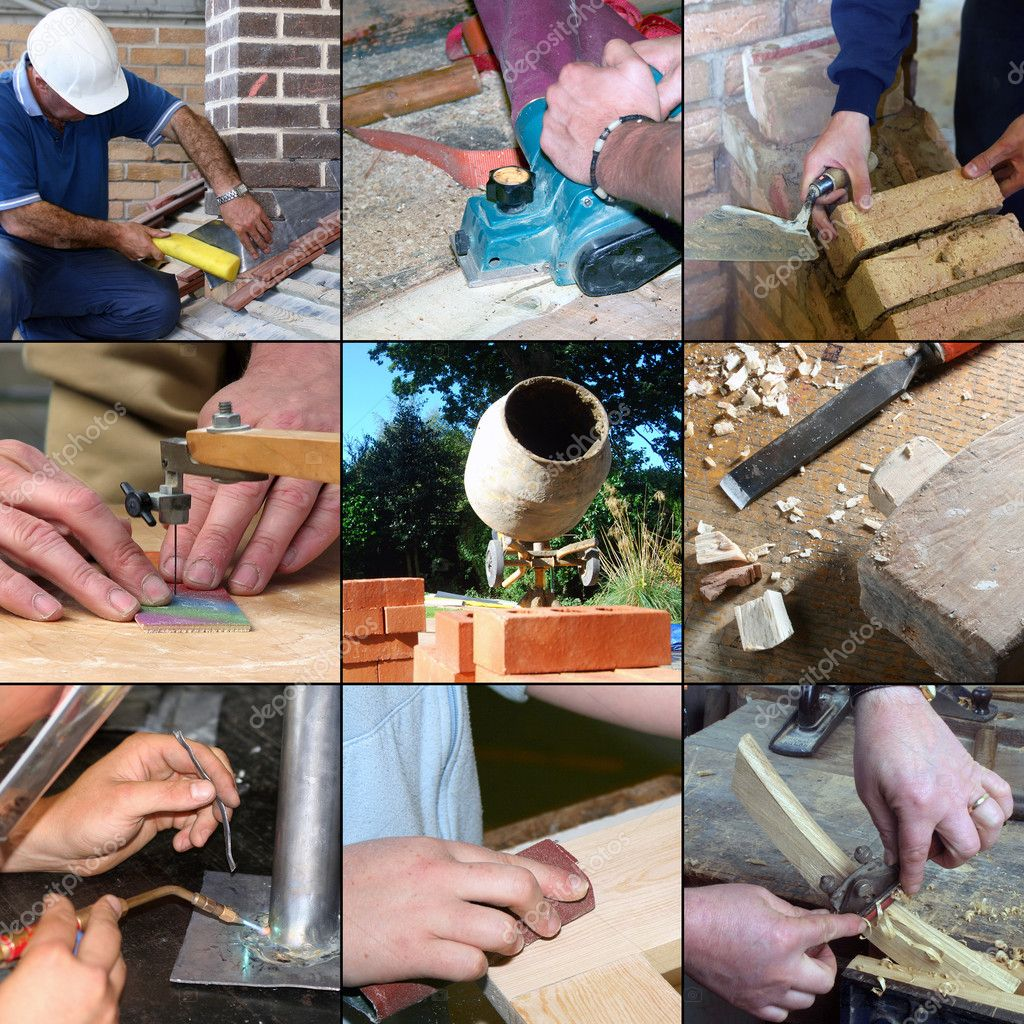 Selection of images relating to construction skills and crafts  Foto de Stock   #2578383