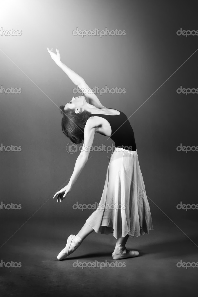 Woman ballet dancer performing on stage.  Stock Photo #2049237