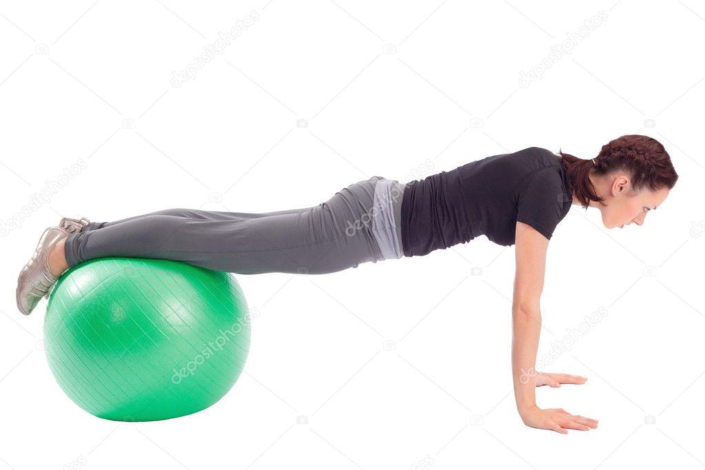 enfoncement exercice avec ballon de gym photographie rognar 2069077. Black Bedroom Furniture Sets. Home Design Ideas