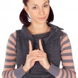 Cute Young Woman Hand Gesture — Stock Photo #2070771