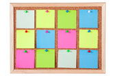 Colorful Paper Notes on Corkboard — Stock Photo