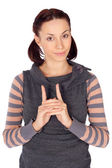 Cute Young Woman Hand Gesture — Stock Photo