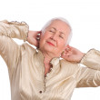 Senior Woman Stretching with Joy — Stock Photo