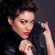 Stock Photo: Beautiful Woman in Black Leather Jacket