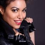 Beautiful Woman in Black Leather Jacket — Stock Photo