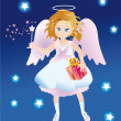 Angel with a gift and magic stick — Stock Photo