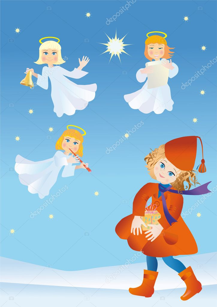Girl with a gift in surroundings the angels of declare Christmas — Stock Photo #2047856