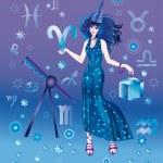 Girl-astrologer — Stock Photo