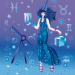 Girl with sign of zodiac of Scorpio — Stock Photo