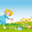 Stock Photo: Easter reason with girl and rabbit