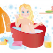 A child bathes in bath — Stock Photo