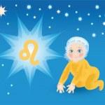 Постер, плакат: Baby bear under a sign a zodiac Leo