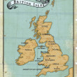 Age-old map British Isles - Stock Photo