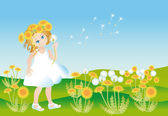 Girl on to the meadow with dandelions — Stock Photo